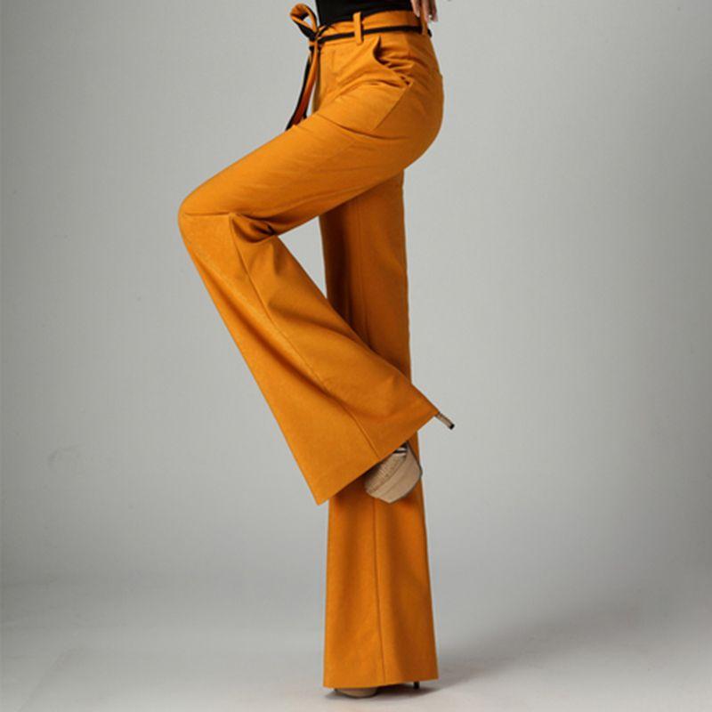 High Quality Women Wide Leg Flare Pants Black Yellow High Waist Female Formal Office Work Trousers Ladies Stretch Pantalon Femme