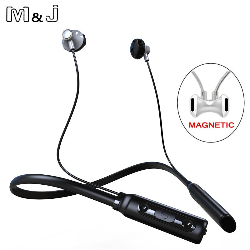 M & J enroulée stéréo sans fil Bluetooth casque casque Sports de plein air Premium bandeau écouteurs avec micro pour iPhone XiaoMi