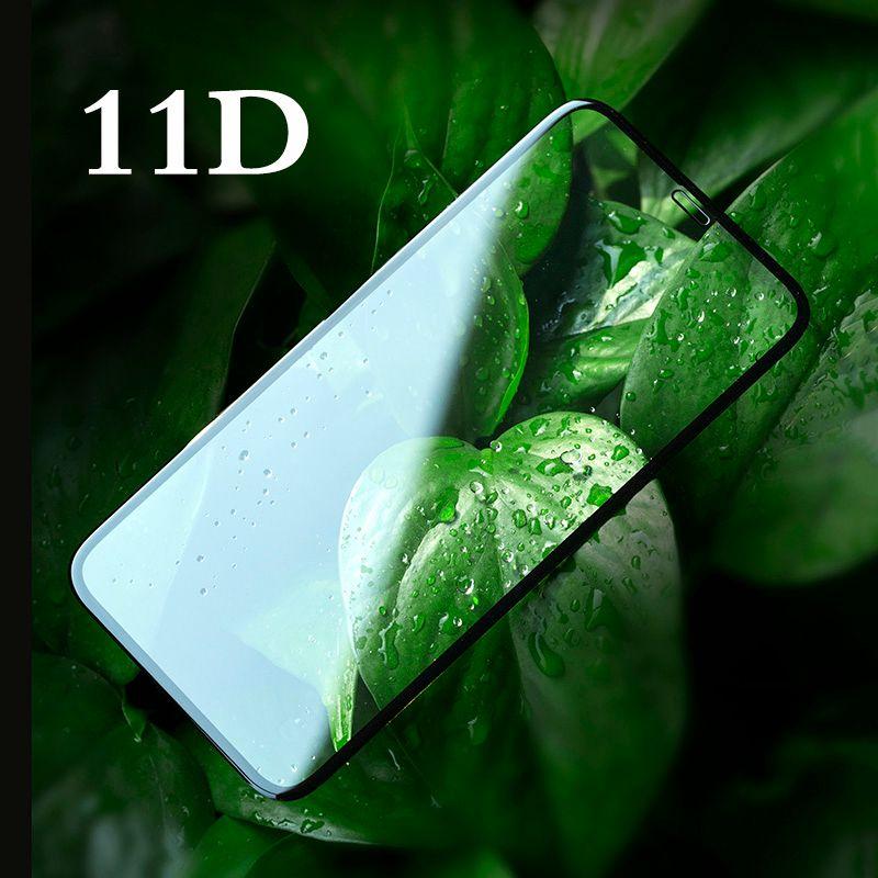 Couverture complète 11D Film en verre trempé pour iPhone 7 8 7plus X XR XS MAX avec 9 H Anti-lumière bleue bord incurvé rond protecteur d'écran