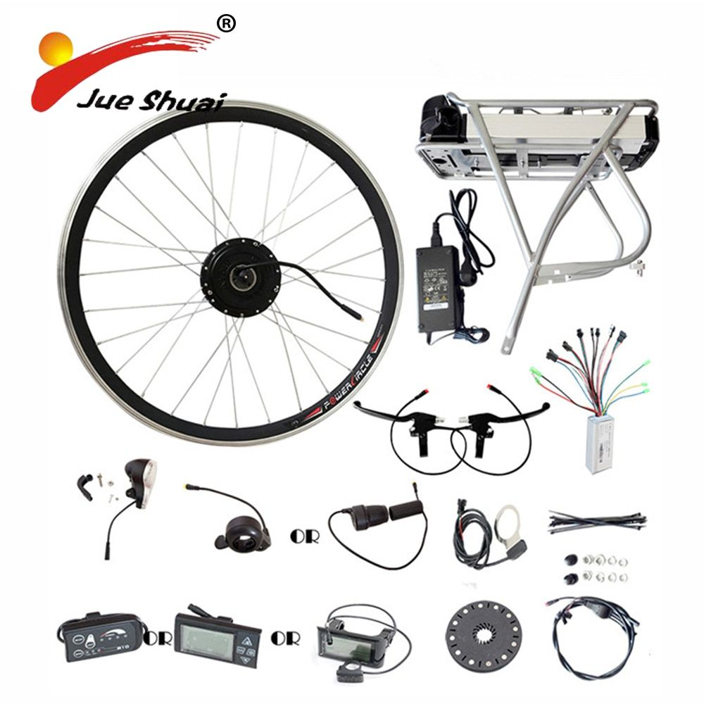 Rear rack Samsung 36V 10ah lithium battery 250W 350W 500W motor wheel e bike conversion kit LED LCD display electric bike kits