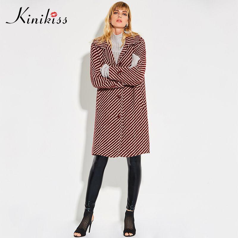 Kinikiss winter coat women 2017 red striped wide waisted loose  button pockets wool overcoat warm autumn fashion long outwear