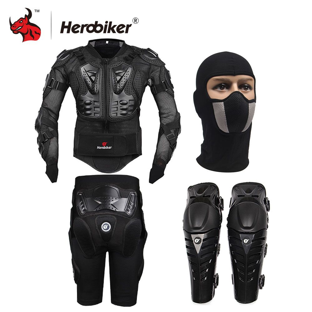 HEROBIKER Motorcycle Body Protection Motocross Racing Full Body Armor+ Gears Short Pants+Motocycle Knee Pad Motorcycle Armor