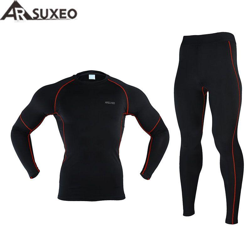 2017 arsuxeo Для мужчин зимние Термальность разогреть флис сжатия Вело-слои Рубашки для мальчиков Одежда для бега Джерси спортивные Костюмы N56
