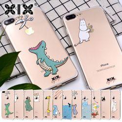 XIX pour Funda iPhone 6 cas 5 5S 5C 6 S 7 Plus X Mignon Dinosaur Souple TPU pour la Couverture iPhone 7 Cas D'origine pour Coque iPhone 8 Cas