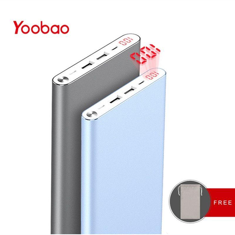 Yoobao A2 batterie externe 20000 mAh double sortie USB/entrée batterie externe Ultra mince avec affichage numérique chargeur Portable Mobile
