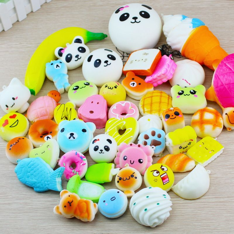 SMSNXY Squishy 30/20/10 Pcs Slow Rising Jumbo Squeeze Toast Cake Bread Panda Ice Cream Cell DIY Phone Straps Toy Decoration