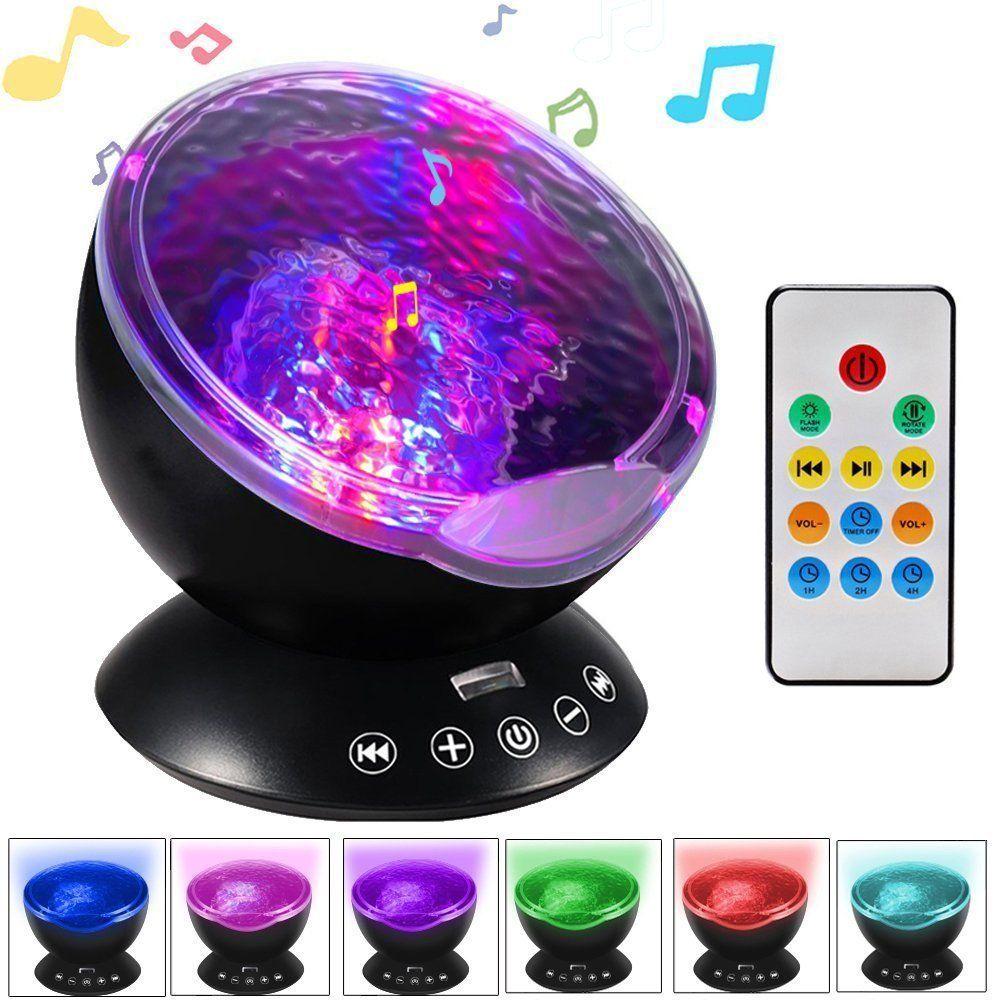 Music Starry Sky Night Light 7 Colors Aurora Ocean Wave Projector LED USB Lamp Luminaria Master Nightlight Baby Children Gifts
