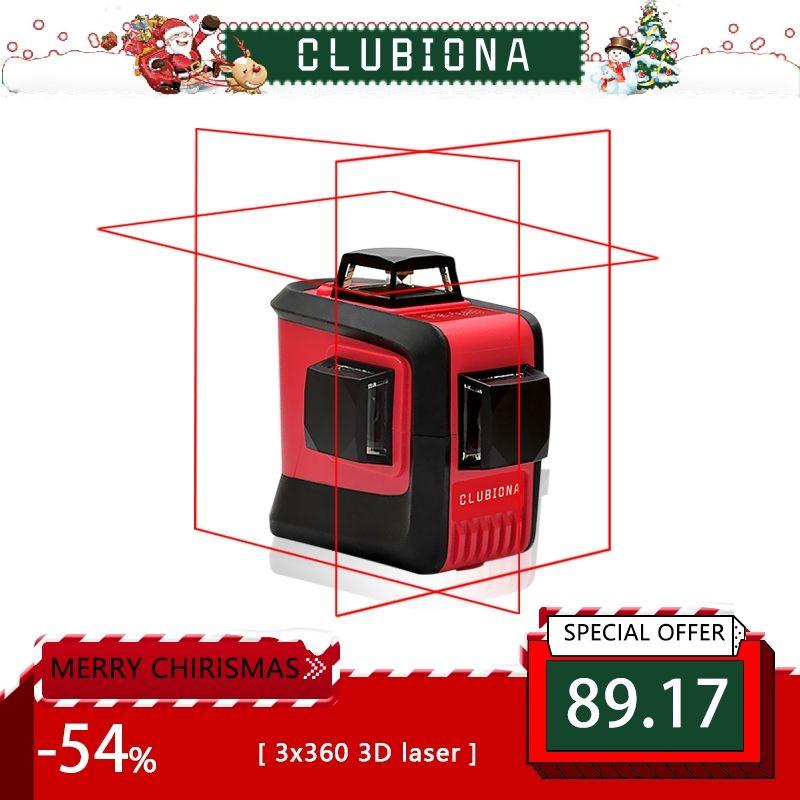 CLUBIONA 3D 360 <font><b>rotary</b></font> 12 cross level Laser lines with tilt slash function, vertical & horizontal Super Powerful receiver OK