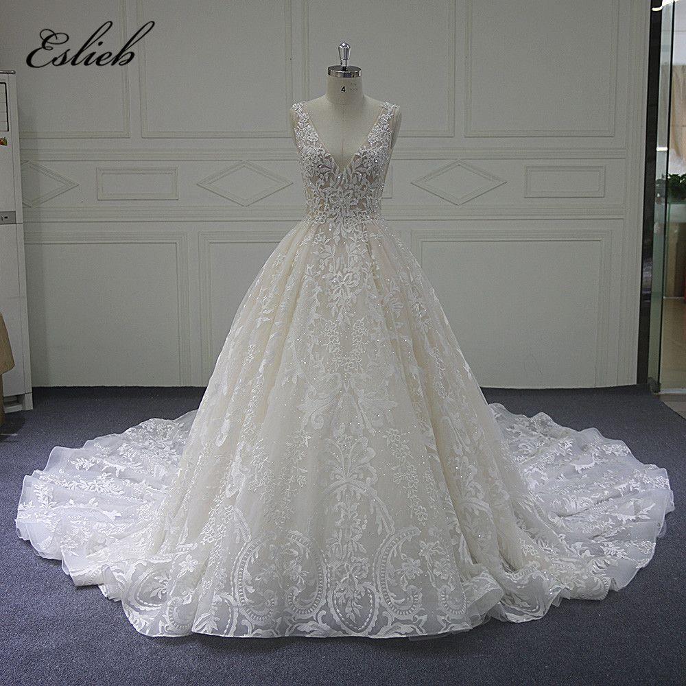 Eslieb Custom made Wedding Dress 2018 the Newest Cap Sleeve A Line Vestido de Noiva Sexy V Neck Bridal Dresses