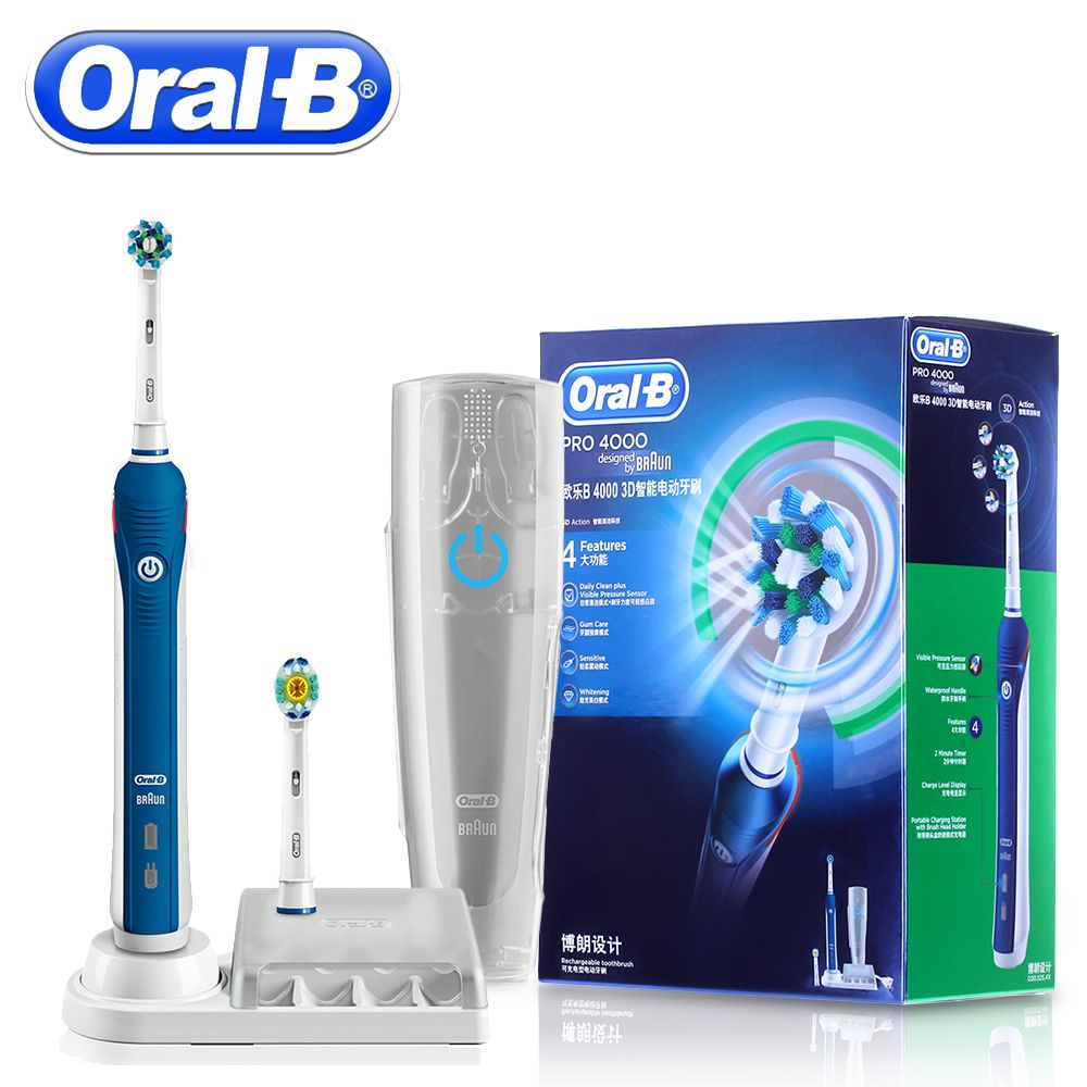 Oral B PRO4000 3D Smart Ultrasonic Electric Toothbrush Teeth Whitening Rechargeable Tooth Brush Adult Daily Clean Gum Care
