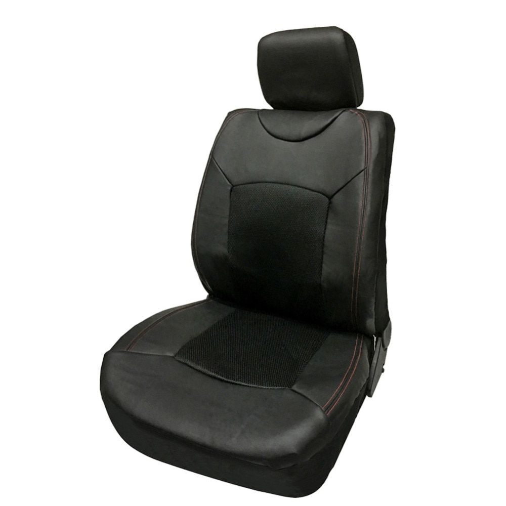 TIROL Universal Fit Full Set Front Single Car Seat Cover Black Red Fit Most Car, SUV Sedans PACK OF 1 T23570aFree Shipping