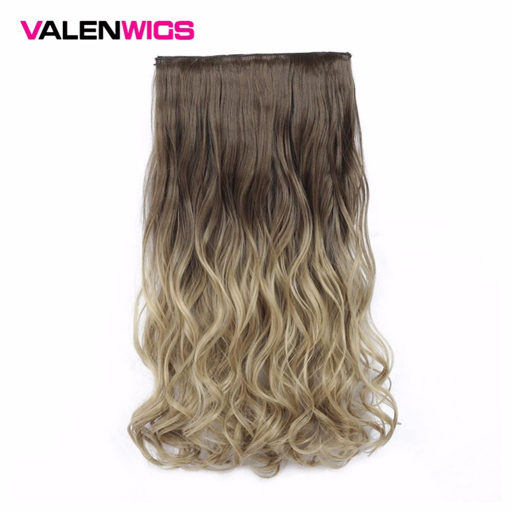 Valen Wigs Synthetic Hair Pieces Clip In Hair Extensions One Piece Clip Hair Extension Clip False Omber Hair Body Wavy Style 22