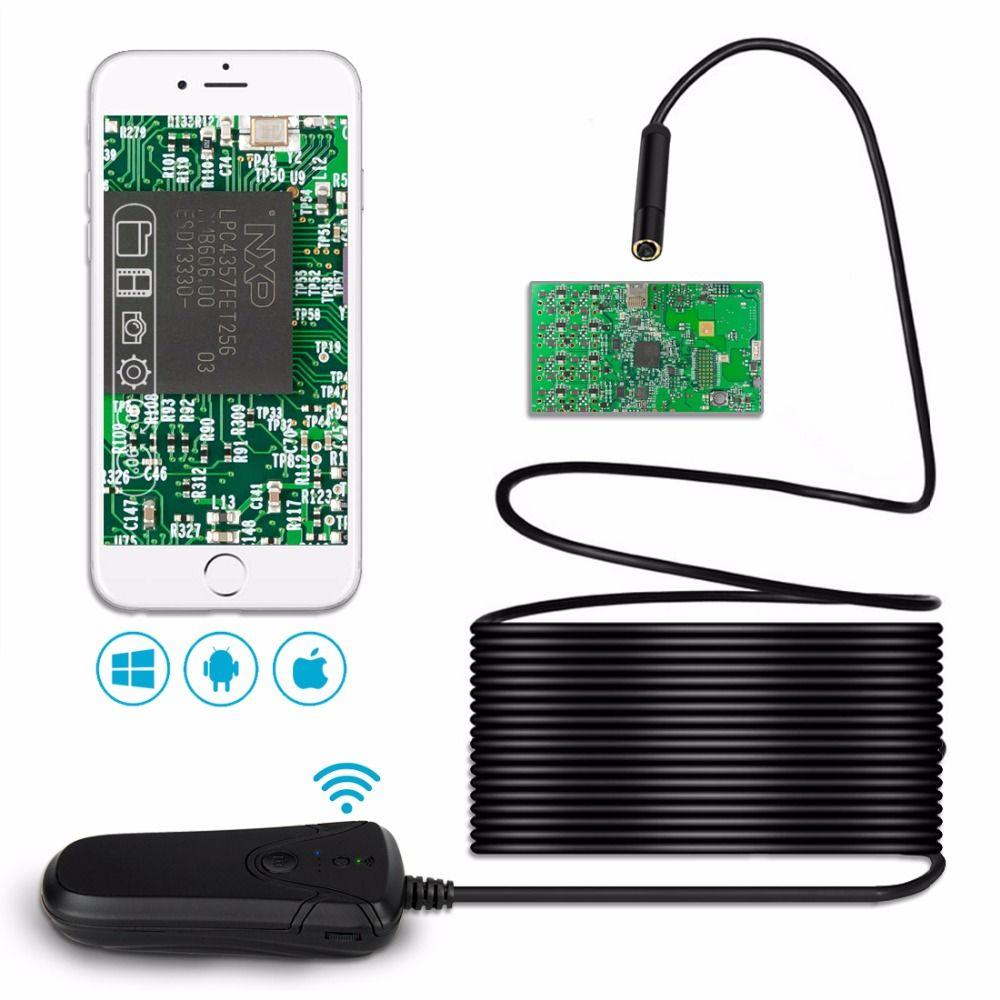 Lerbyee Wifi Wireless Endoscope HD 1080P Inspection Camera Waterproof Semi-rigid Borescope Video Inspection for iPhone Android