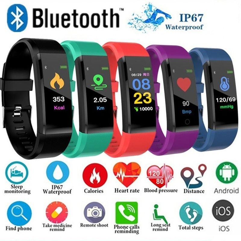 ID115Plus Smart Bracelet Sport Bluetooth Wristband Heart Rate Monitor Watch ID115 PLUS Fitness Tracker Smart Band PK Mi band 2