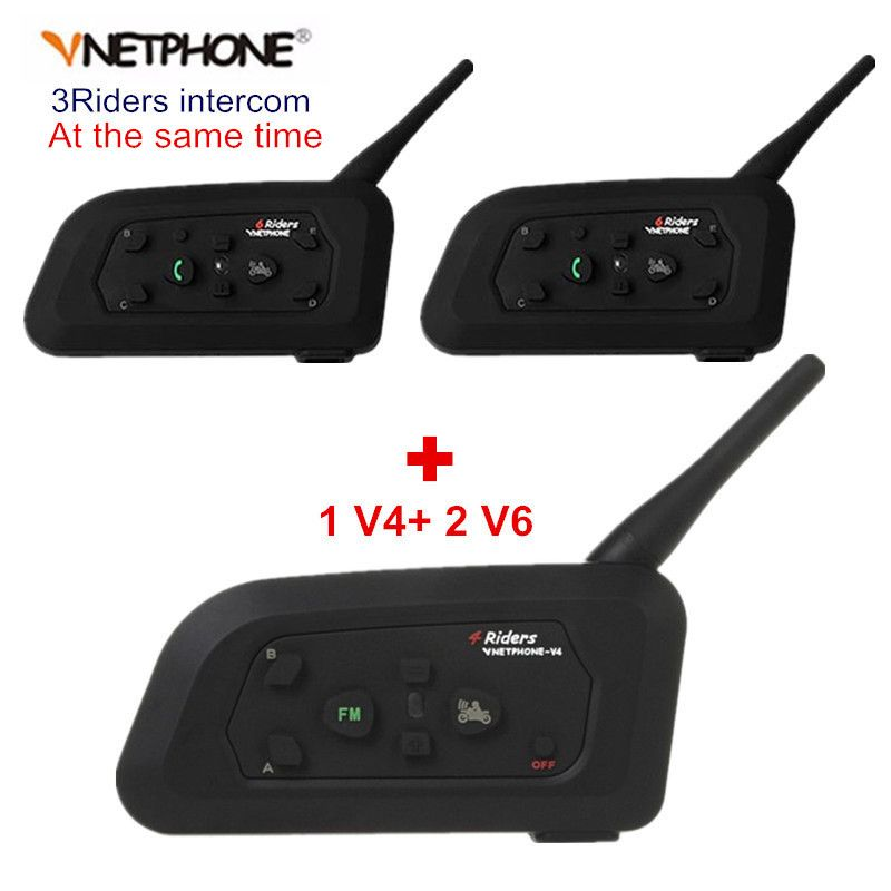 Vnetphone V4+2 Pcs V6 Motorcycle Helmet Bluetooth Intercom System BT Stereo Interphone Handsfree Headset for 3 Riders Group Chat