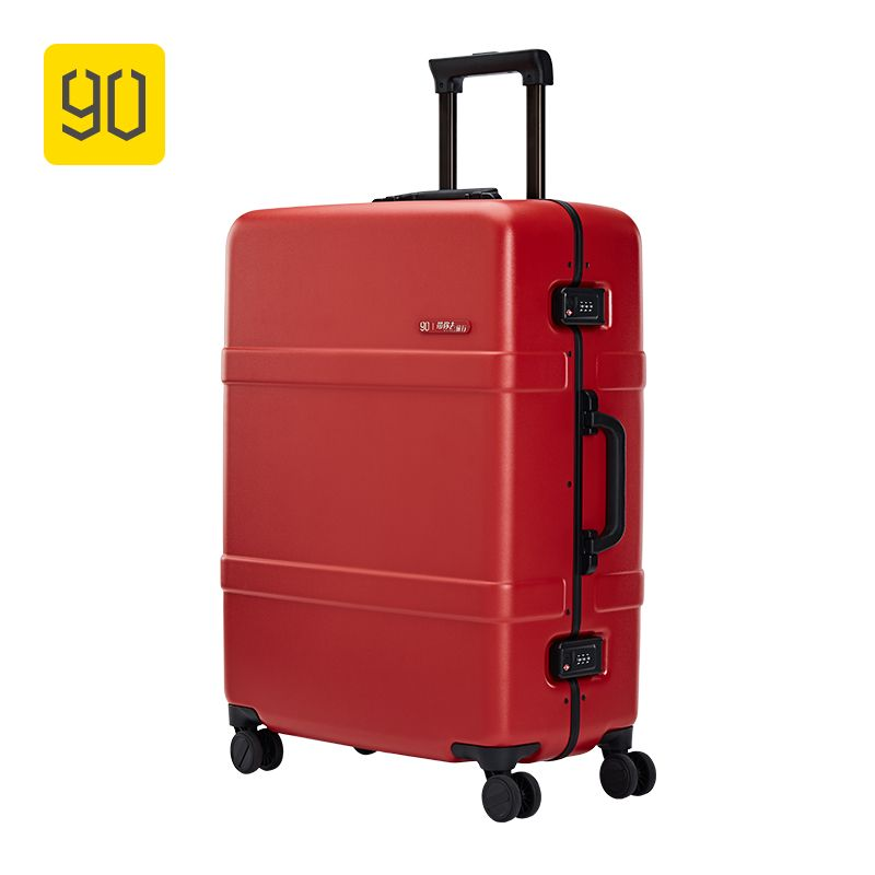 Xiaomi Ecosystem 90FUN Upgraded Aluminum Framed Suitcase PC Spinner Wheel Carry on Hardshell Luggage,20/24, Grey/Red