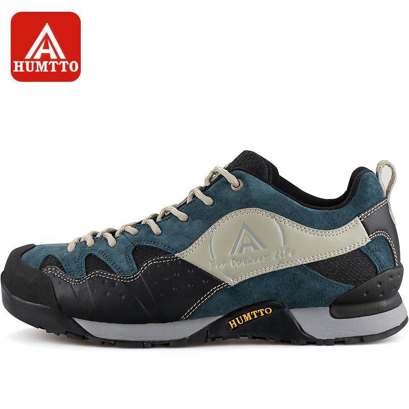 HUMTTO Men's Walking Shoes Winter Outdoor Non-slip Wear-resistant Climbing Boots Lace-up Breathable Trekking Shoes