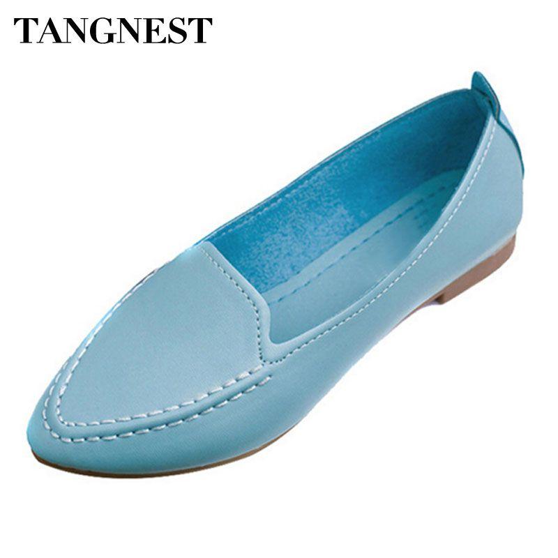 Tangnest 2017 г. летняя повседневная женская обувь на плоской подошве с острым носком без застежки мягкая удобная обувь женская плюс-размер 35–40 ...