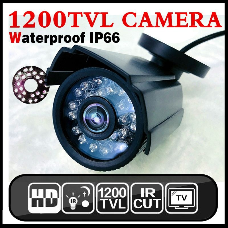 11.11HotSale Real <font><b>1200TVL</b></font> Mini Analog CCTV HD Camera Outdoor Waterproof IP66 24led IR-CUT infrared Security Surveillanc Vidicon