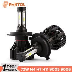 Partol T5 LED H4 Hi Lo Beam H7 H11 H1 9005 9006 H3 Car LED Headlight Bulbs 72W 8000LM Automobile Headlamp LED Light 6500K 12V