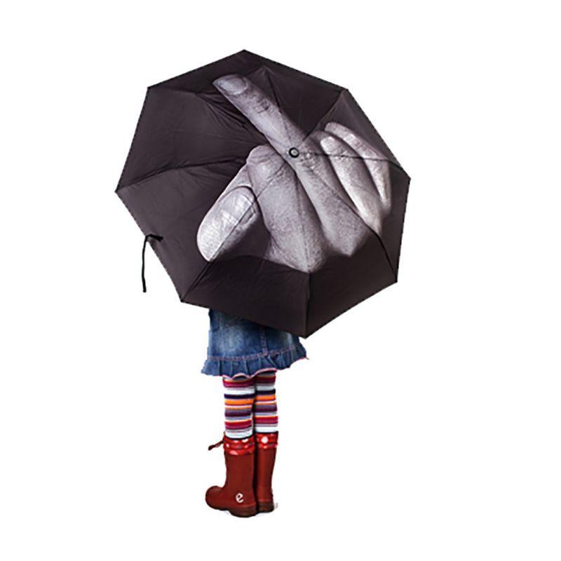Creative Cool Middle Finger Umbrella Rain Women Parasol men Umbrella Impact Umbrella 3 Fold