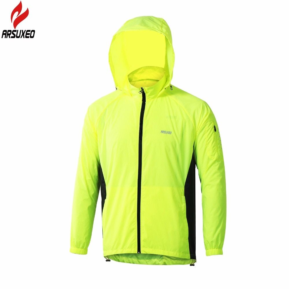 ARSUXEO 2017 New Men Running Jacket Hoodie Windproof Waterproof Outdoor Sport Jacket Cycling Bike Bicycle Clothing Coat Clothes