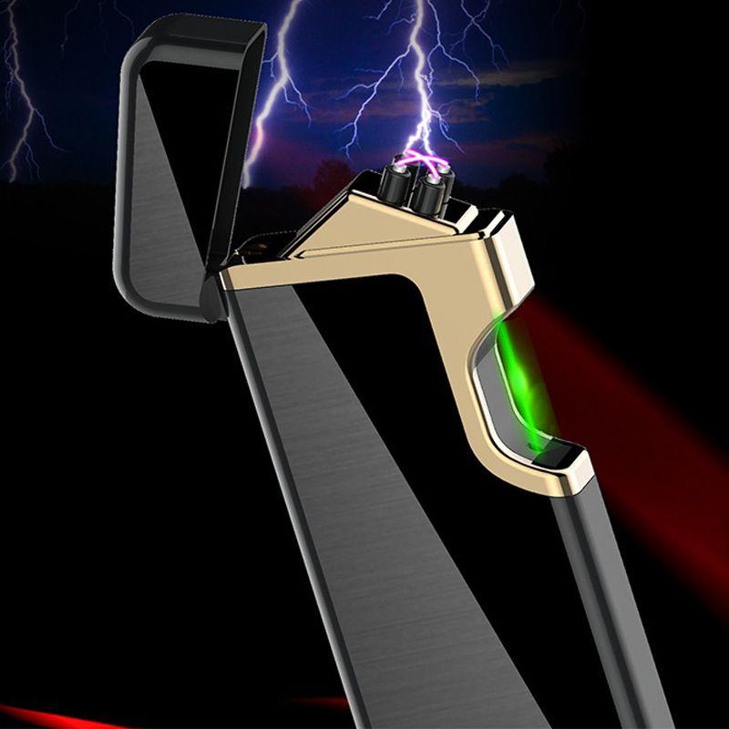 Rapide Vert Laser D'allumage Cigarette Électronique Briquet USB Plasma Double ARC Léger Pour Bougie En Métal Turbo Électrique Briquets