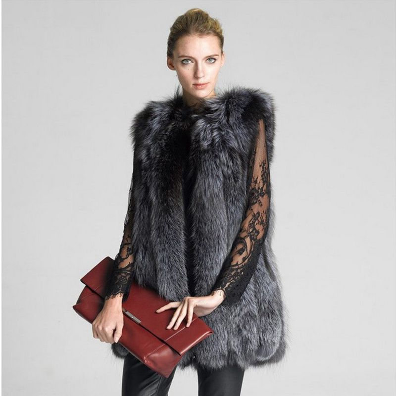 New 2018 Fashion Autumn And Winter Women Coat Woman Fur Vests Jacket Ladies Gilet Vest For Shopping Working Party Wedding Hn90