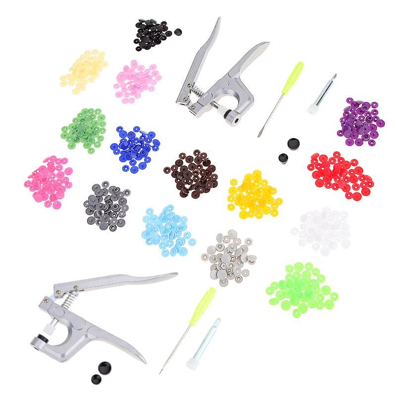 Fastener Snap Plier for T3/T5/T8 Snap + 150pcs T5 Snap Buttons Plastic Resin Press Stud Cloth Sewing Accessories