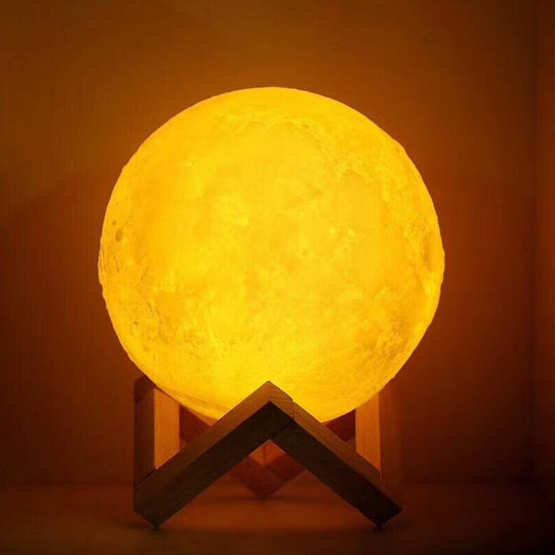 USB Rechargeable 3D Impression Lune Lampe 2 Couleur Tactile Chambre table Night Light Decor blub Creative Cadeau Luminaria imputable blub