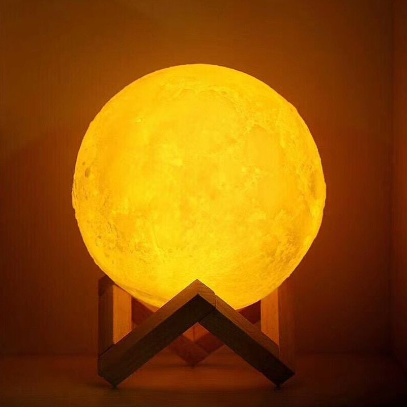USB Rechargeable 3D Impression Lune Lampe 2 Couleur Tactile Chambre table Night Light Decor blub Creative Cadeau Luminaria imputable blub