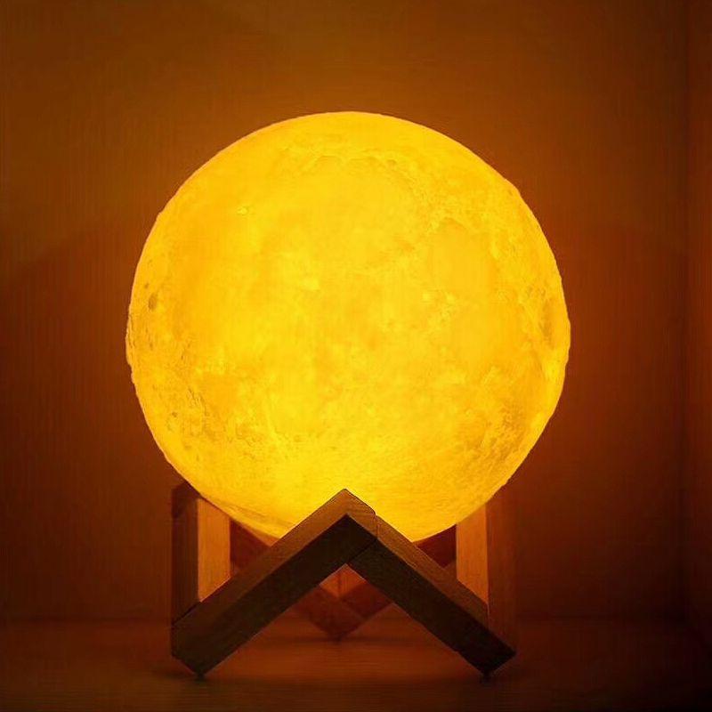 USB Rechargeable 3D Impression lampe de lune 2 Couleur Tactile table de chambre Night Light Decor blub Creative Cadeau Luminaria imputable blub