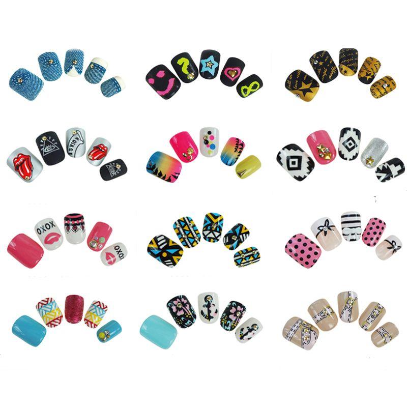 Neue Gefälschte Nägel Kurz Drücken Auf Nägel Sexy Hafenpersenning Falsche Nägel Mit Design 24 Faux Ongles12 Farbe Für Wählen qualität