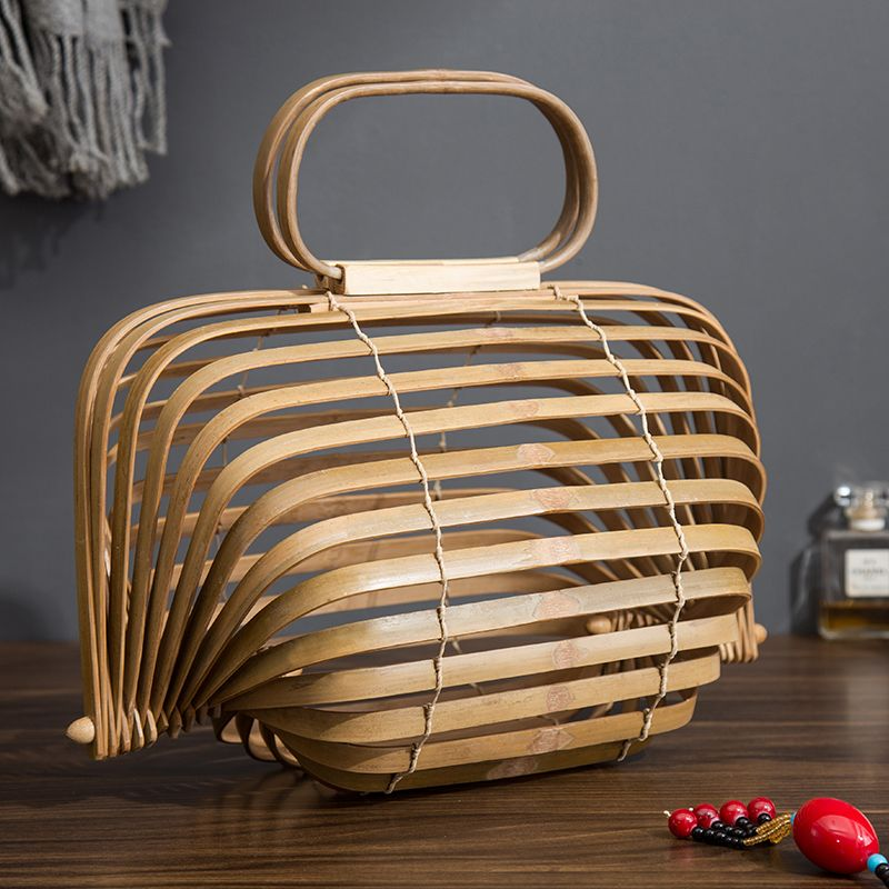 2018 Bamboo Basket Bamboo Bag Women Large Straw Bag Summer Hollow Out Tote Luxury Designer Foldable Bag Two Colors