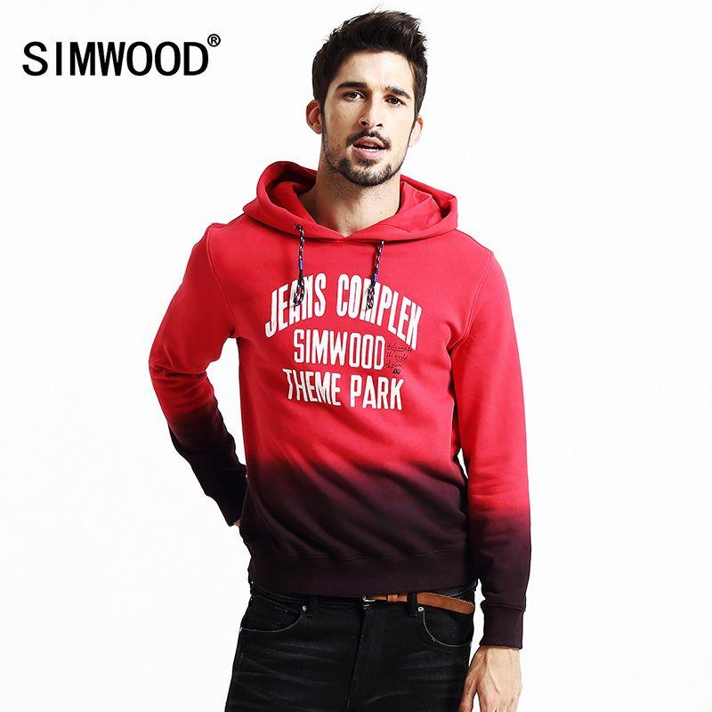 Simwood 2018 nueva primavera invierno sudaderas hombres moda streetwear casual colores mezclados hoodies hip hop tracksuits WY8027