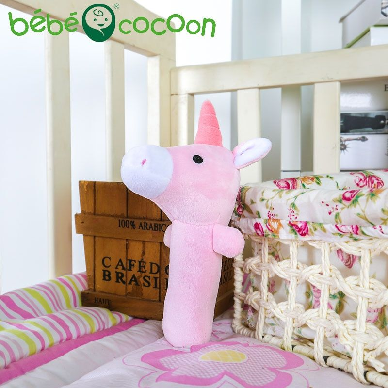 bebecocoon Baby Stuffed Handbells Unicorn Toys Plush Puppet Rattle Enlightenment Cute Animal Plush Rattle Gifts Set