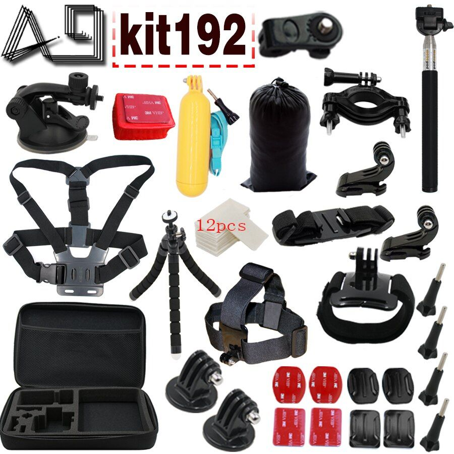 A9 For Accessories Set For Gopro 5 4 3+ 3 2 1EKEN H9R F60R W9R Xiaomi Yi 4K SJ4000 Action Cam with Head Strap Floating Stick