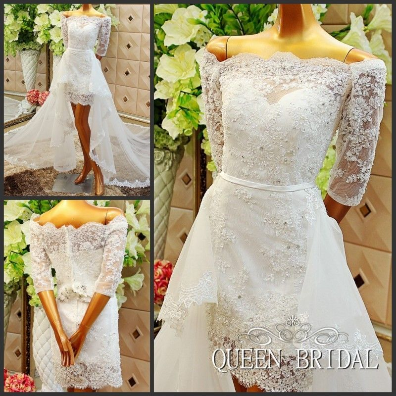 A line short wedding dress with removable skirt detachable tail tulle lace applique wedding gowns vestido de noiva renda H57M