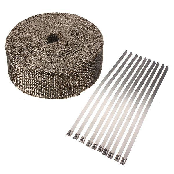 Car Motorcycle 10M x 5cm x 2mm Exhaust Heat Pipe Header Wrap + 10 Cable Tie Manifold Fiberglass 3000 Fahrenheit Insulating Beige