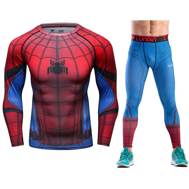 Joggers Skinny Leggings Plus Size Compression Sets High Elastic Men Tshirt Causal Fitness Tracksuits spider-man Crossfit Suits