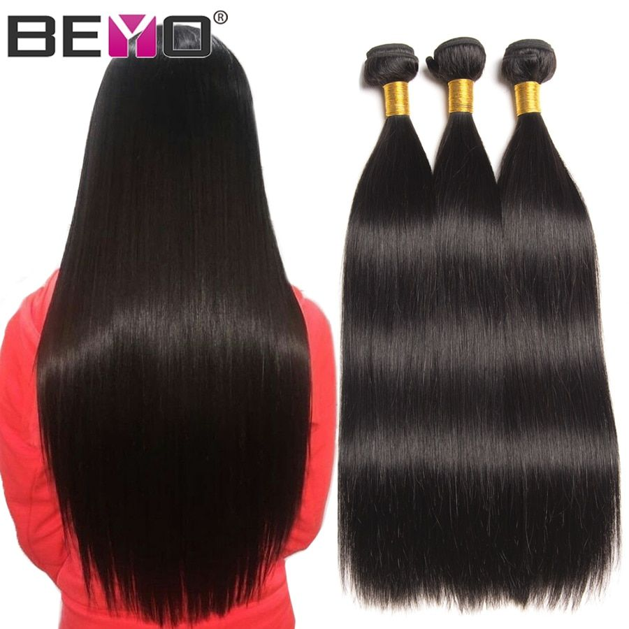 Beyo Cheveux Raides Bundles 100% de Cheveux Humains Faisceaux Non-Remy Cheveux Extensions 1/3/4 Bundle Offres 8-28 pouce Indien Faisceaux de Cheveux
