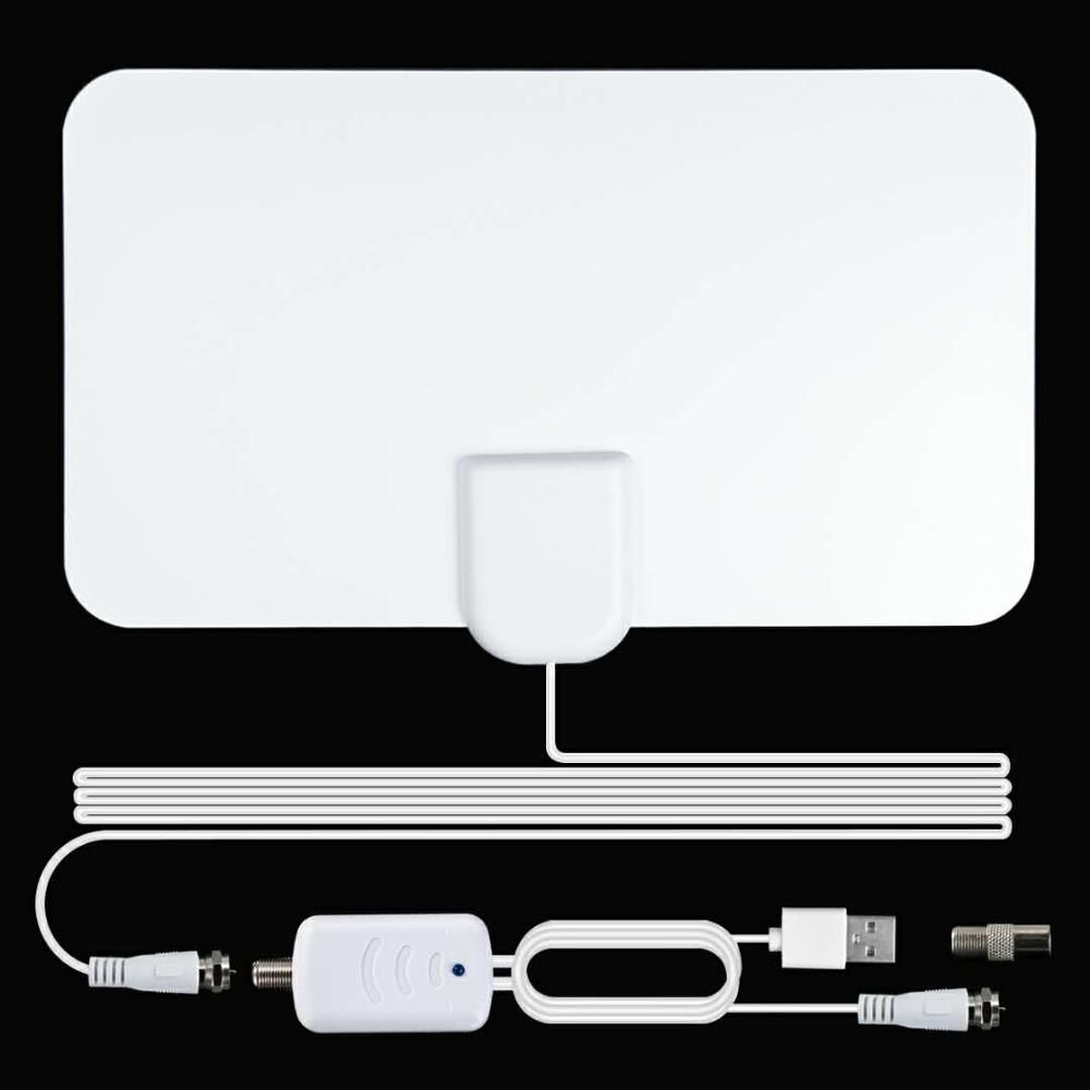 AH-LINK Indoor High Gain 4K 25DB HDTV DTV Digital TV Antenna 120 Miles Booster With Amplifier Signal Booster Active HD DTV Box