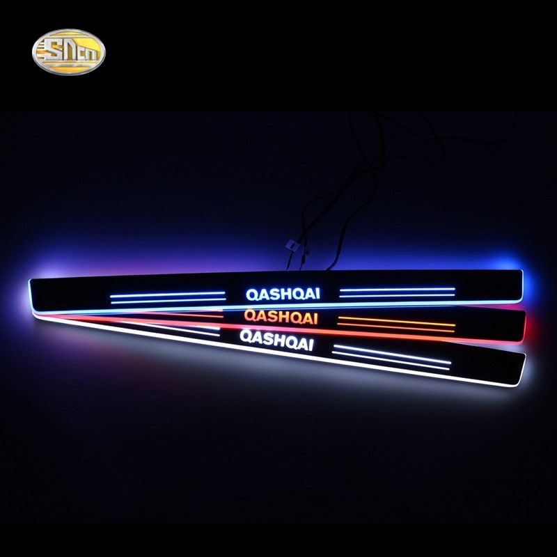 SNCN LED door sill for Nissan Qashqai 2015 2016 Led moving lights door scuff plate welcome pedal