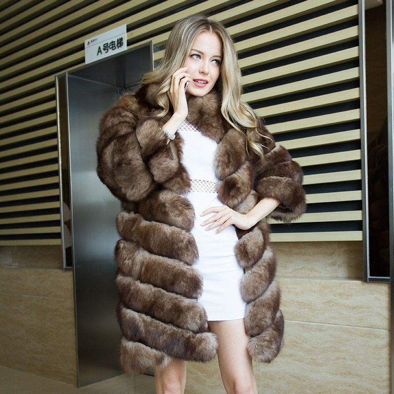 CNEGOVIK 2017 real fur coats for women Imitation of sable real fox fur coat 90cm deep brown stand up collar Jacket