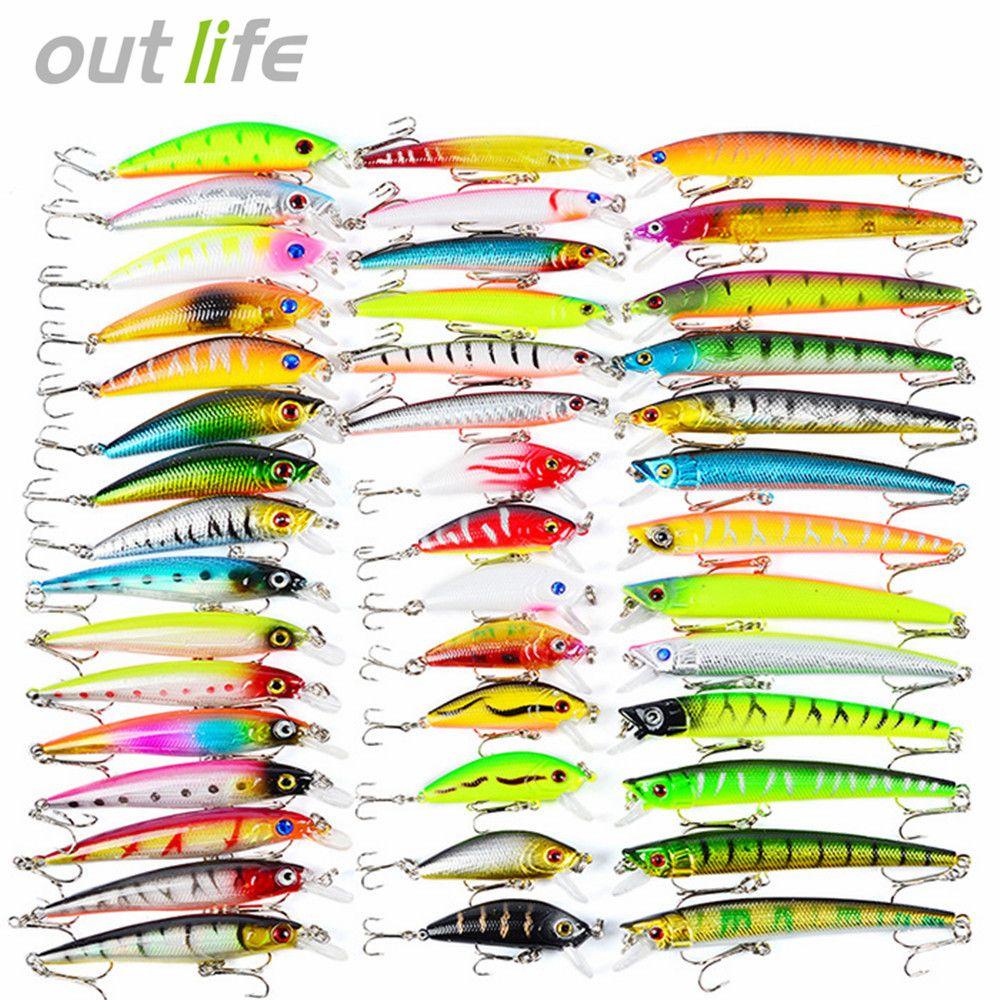 43/53/60pcs New Mixed 6/Set Minnow Fishing Lure Artificial Lifelike Carp Fishing Tackle Plastic Pesca. Artificial Baits Lures