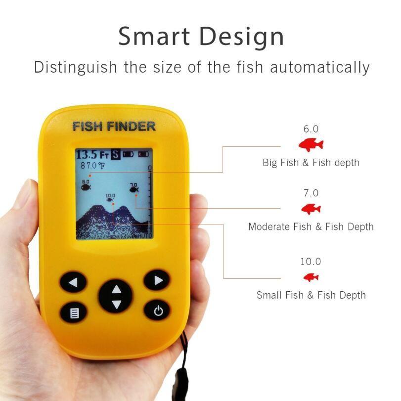 echo sounder Wireless Sonar Sensor Fish Finders for Boats Humminbird Transducer LCD Water Depth , Temperature Fishfinder