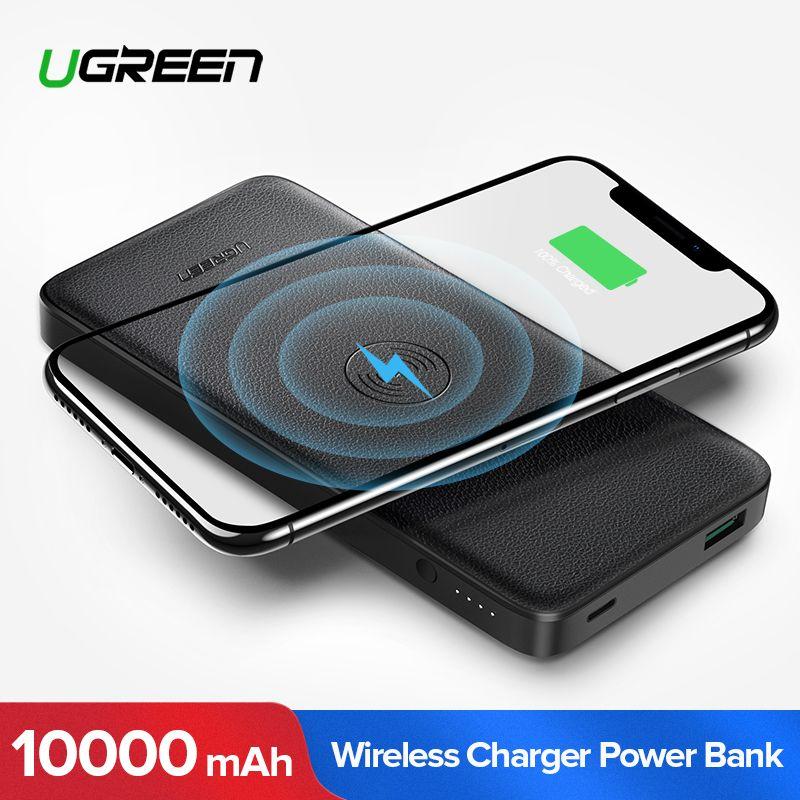 Ugreen 10000mAh Qi Wireless Charger Power Bank For iPhone XS X 8 Xiaomi 3A Dual USB External Battery Wireless Charging Powerbank