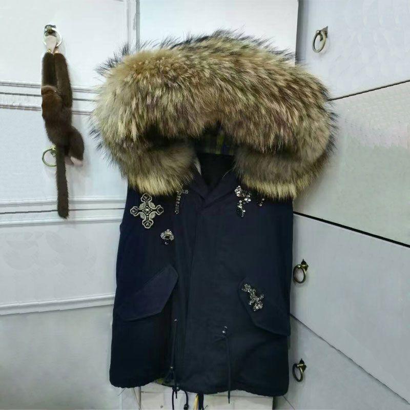 Dunkelblau Schlange Sicken Weste Natürlichen Pelzweste Jacke Große Waschbären Pelz Kapuze Weste