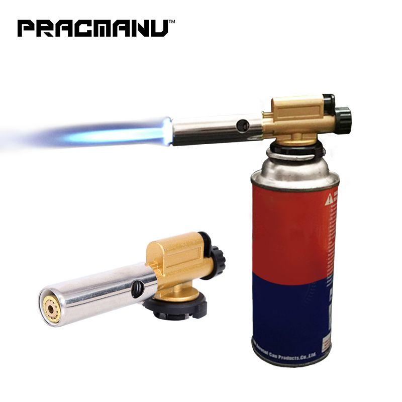 PRACMANU Electronic Ignition Copper Flame Butan Gas Burner Gun Maker Torch For Outdoor Camping Picnic BBQ Welding Equipment