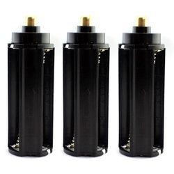 Grosir 3 Pcs Plastik Logam 3x Baterai AAA Case Kotak Dudukan Tipe Silinder untuk 18650 Senter Hitam